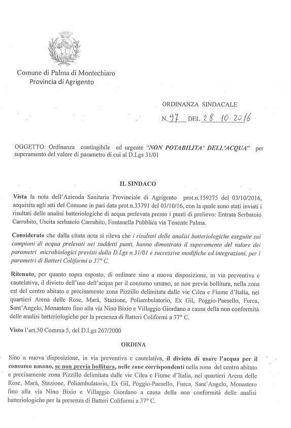 ordinanza sindacale del 28-10-2016