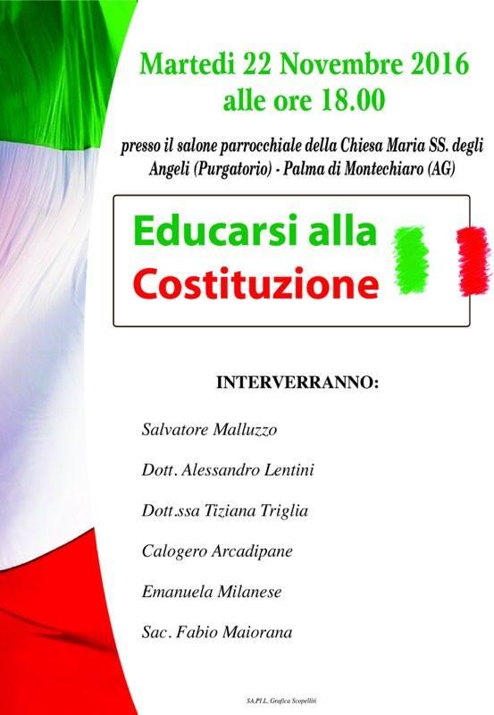 """LOCANDINA DELL'INCONTRO """"EDUCARSI ALLA COSTITUZIONE"""